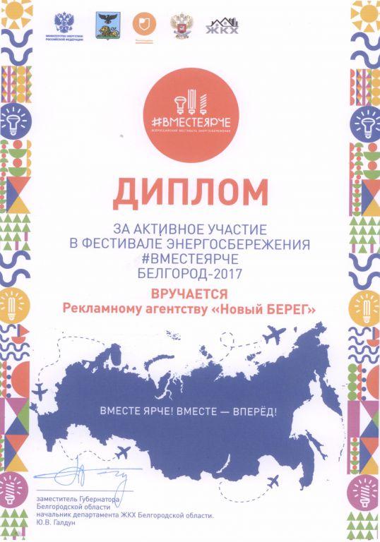 Диплом за активное участие в фестивале энергосбережения вместеярче